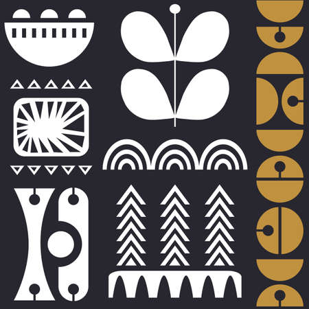 Scandinavian folk art seamless vector pattern with white and gold figures on navy gray background in minimalist style