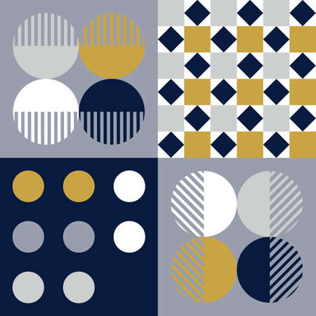 Modern vector abstract seamless geometric pattern with navy blue, golden, gray and white shapes and elements in retro scandinavian style