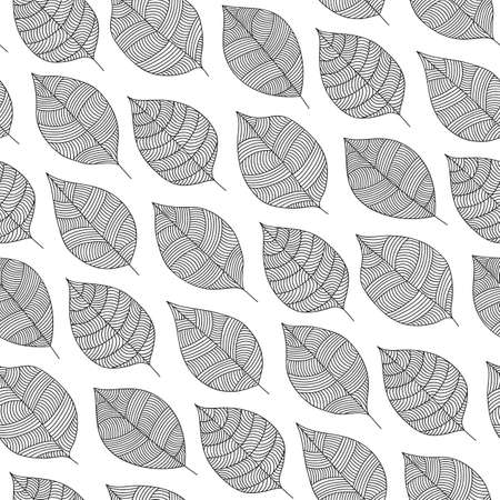 Scandinavian seamless vector outline pattern with monochrome leaves in simple style