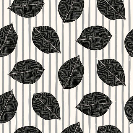 Scandinavian seamless vector outline pattern with monochrome leaves on stripes background in simple style