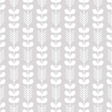 Scandinavian modern folk seamless vector pattern with white leaves and arrows on gray background in minimalist style 向量圖像