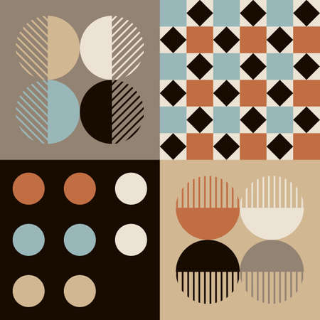Modern vector abstract seamless geometric pattern with navy blue, brown, red and white shapes and elements in retro scandinavian style