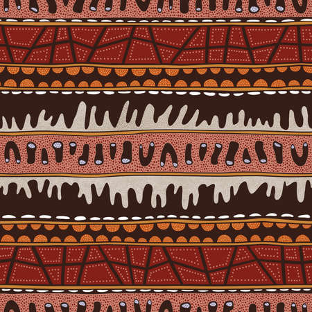 Seamless vector pattern including ethnic Australian motive with colorful dotted different shapes and elements on brown background