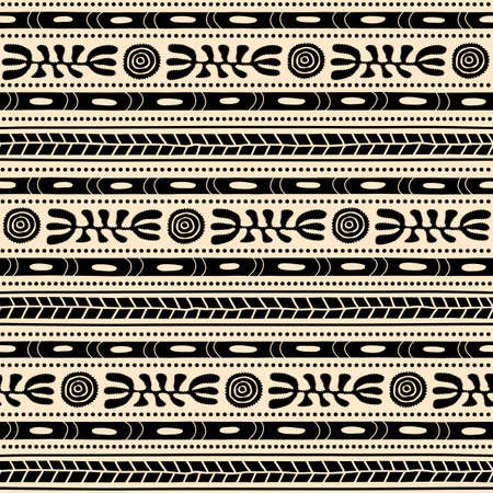Seamless vector pattern including ethnic Australian motive with black dotted leaves and other elements on white background 向量圖像
