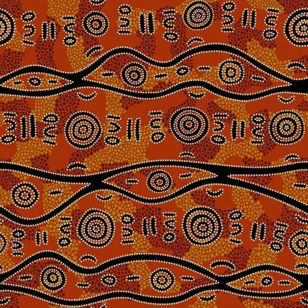 Seamless vector pattern including ethnic Australian motive with colorful dotted different shapes and elements on orange background