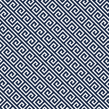 Geometric asian indigo abstract seamless vector pattern including traditional korean or chinese motive with typical lines and elements 向量圖像