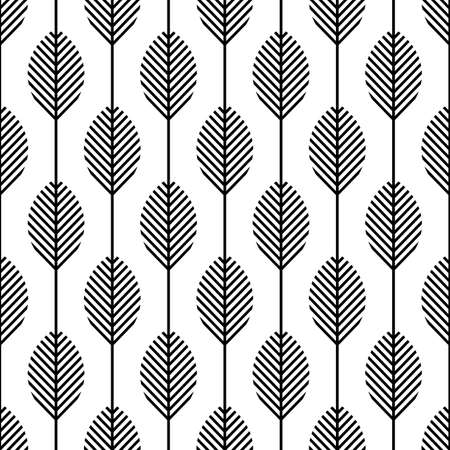 Scandinavian modern folk seamless vector pattern with leaves and black lines on white background in minimalist geometric style