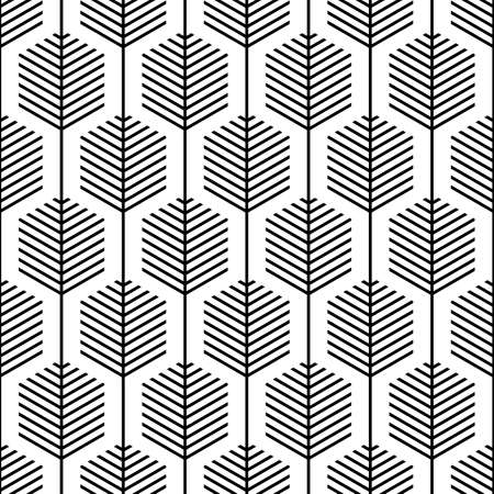 Scandinavian modern folk seamless vector pattern with hexagons and black lines on white background in minimalist geometric style