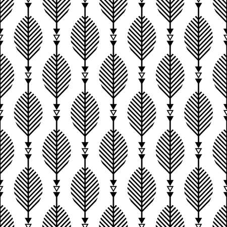Scandinavian modern folk seamless vector pattern with leaves, arrows and black lines on white background in minimalist geometric style
