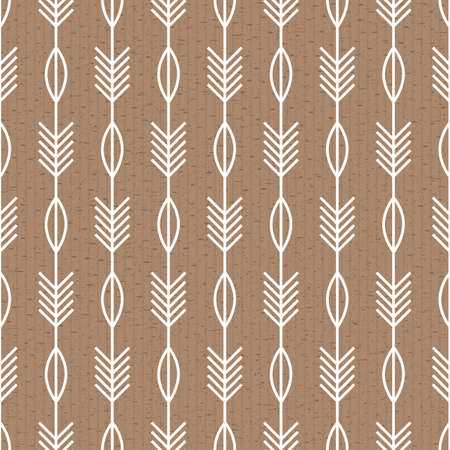 Scandinavian modern geometric seamless vector pattern with white leaves and arrows on brown background in minimalist style