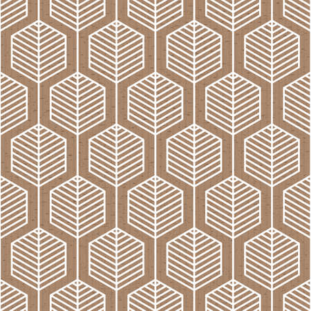 Scandinavian modern geometric seamless vector pattern with hexagons and white lines on brown background in minimalist style 向量圖像