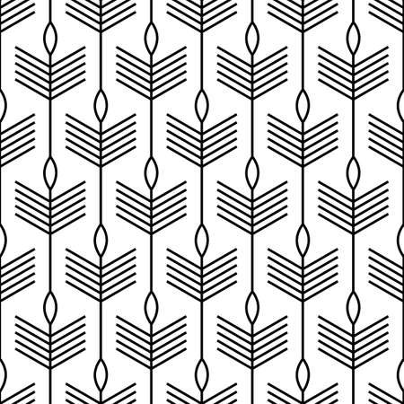 Scandinavian modern folk seamless vector pattern with black lines, arrows and leaves on white background in minimalist geometric style