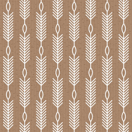 Scandinavian modern folk seamless vector pattern with white lines, arrows and leaves on post paper in minimalist geometric style