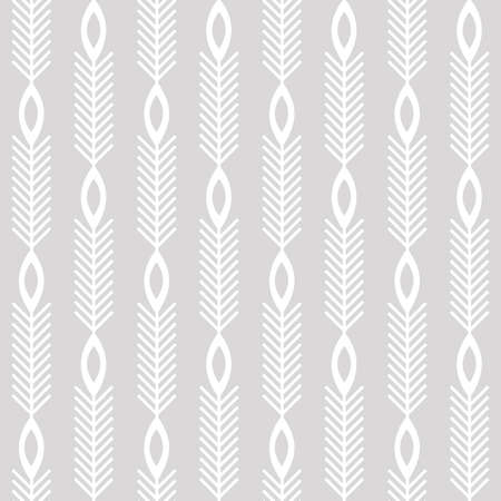Scandinavian modern folk seamless vector pattern with white lines, arrows and leaves on light gray background in minimalist geometric style 向量圖像