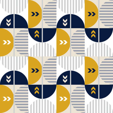Modern vector abstract seamless geometric pattern with colored shapes, lines and other elements in retro scandinavian style