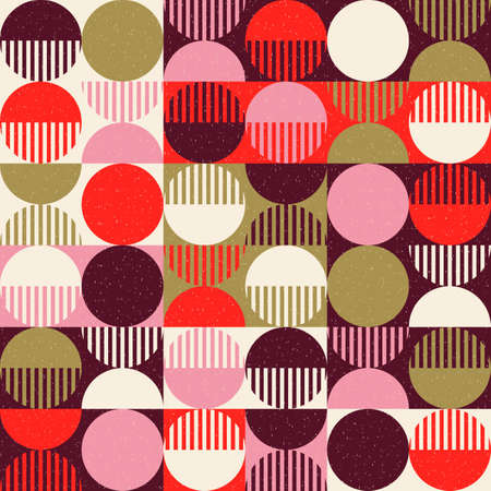 Modern vector abstract seamless geometric pattern with colored shapes, lines and other elements on worn out background in retro scandinavian style