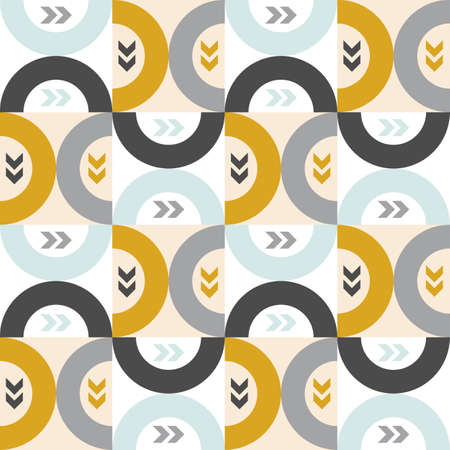 Modern vector abstract seamless geometric pattern with colored squares, arc and arrows in retro scandinavian style 向量圖像