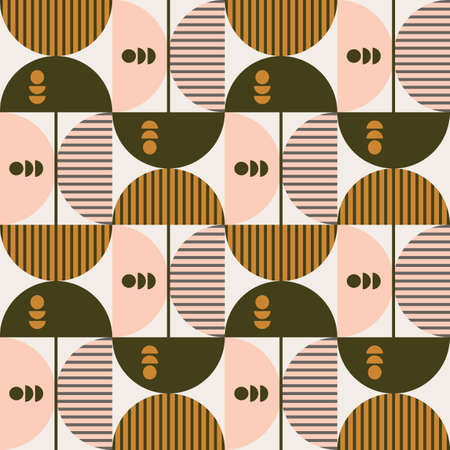 Modern vector abstract seamless geometric pattern with colored circle, semicircle, lines and squares in retro scandinavian style