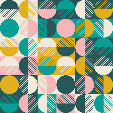 Modern vector abstract seamless geometric pattern with colored shapes, lines and other elements on worn out background in retro scandinavian style 向量圖像