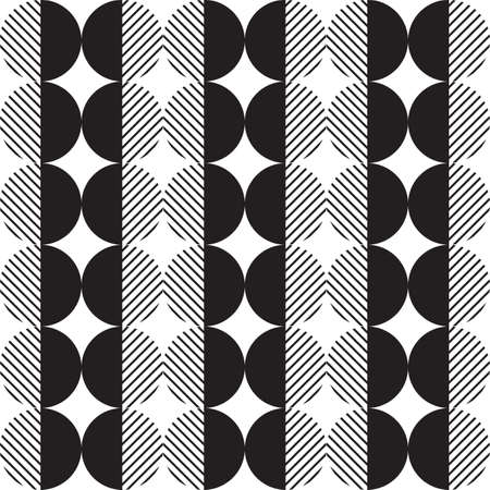 Modern vector abstract seamless geometric pattern with monochrome semicircles, circles and lines in retro scandinavian style