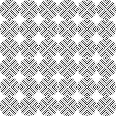 Modern vector abstract seamless geometric pattern with monochrome circles, lines and rhombus in retro scandinavian style