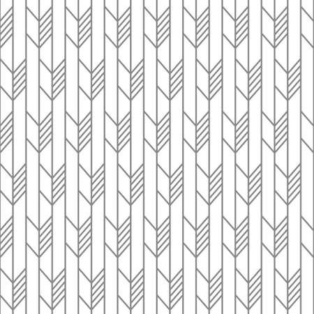 Scandinavian modern folk seamless monochrome vector pattern with arrows and lines in minimalist geometric style