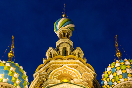 rood: Three domes of Church of the Savior on Blood Stock Photo