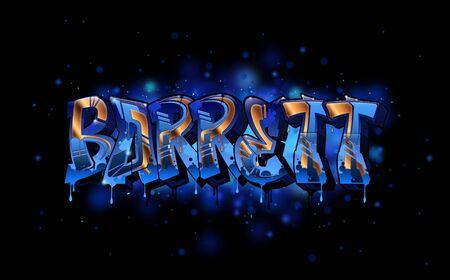 Barrett Name Text Graffiti Word Design