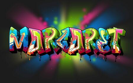 Margaret Name Text Graffiti Word Design