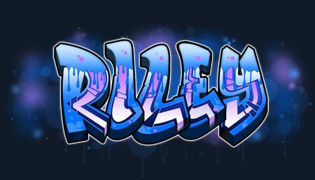 Riley Name text Graffiti Word Design. A cool Graffiti Name illustration inspired by graffiti and street art culture. Vivid vibrant colors, immaculate style, perfect balance. No need to have a graffiti artist spray paint a graffiti wall for you when you can just use this beautiful graffiti artwork with great legible graffiti letters