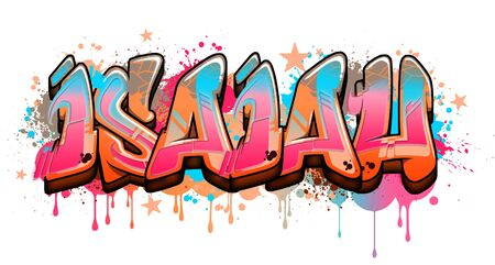 Isaiah Name text Graffiti Word Design. A cool Graffiti Name illustration inspired by graffiti and street art culture. Vivid vibrant colors, immaculate style, perfect balance. No need to have a graffiti artist spray paint a graffiti wall for you when you can just use this beautiful graffiti artwork with great legible graffiti letters