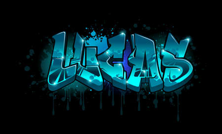 A cool Graffiti styled Name design. Legible letters for all ages.