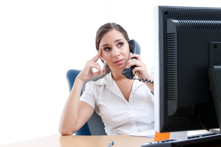 Worried businesswoman, talking over the phone Stock Photo - 9688223