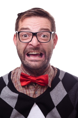 hilarious: Happy geek laughing hysterically. Nerd series.  Stock Photo