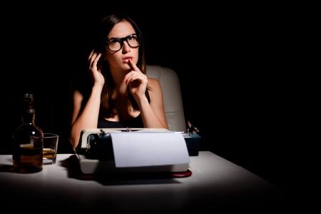 novelist: Novelist thinking of the story she