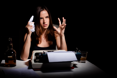 novelist: Novelist is angry and frustrated because she Stock Photo