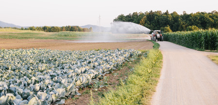 fertilizer: Farmer watering the field using tractor and cistern Stock Photo