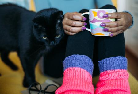 Zwarte kat wrijven tegen vrouw het drinken van thee op de bank Stockfoto