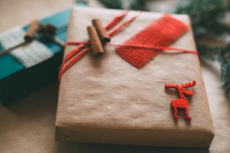 christamas: Retro Christamas gifts box presents on brown paper Stock Photo