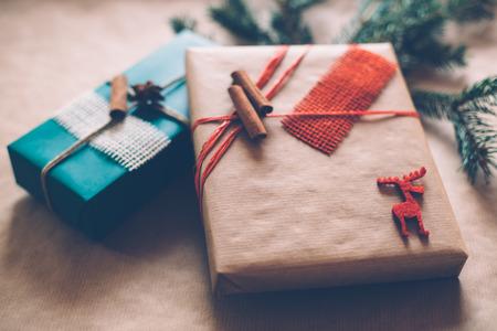christamas: Modern Christamas gifts box presents on brown paper