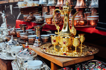 istanbul: Handmade Turkish tea sets at istanbul market Stock Photo