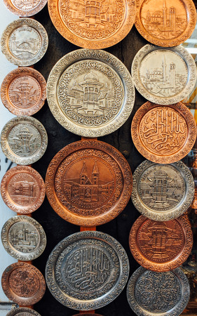 sarajevo: Souvenir platters at Baščaršija maket in Sarajevo Stock Photo