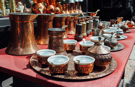 istanbul: Copper Turkish coffee sets at istanbul market