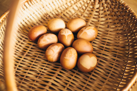 Easter eggs in a basket naturally dyed colored