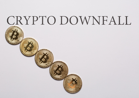 Bitcoin and cryptocurrencies downfall concept