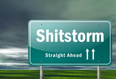 Highway Signpost Shitstorm Stock Photo