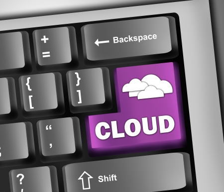 virtualization: Keyboard Illustration Cloud Computing
