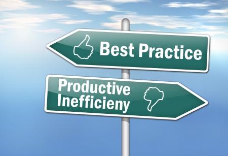 best practice: Signpost Best Practice Stock Photo