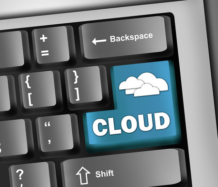 scalability: Keyboard Illustration Cloud Computing