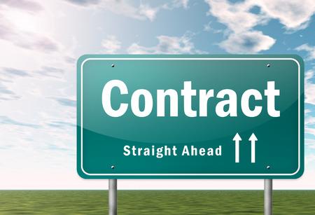 tratados: Orientaci�n a la carretera con una redacci�n de contratos Foto de archivo